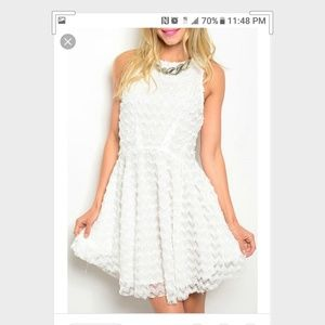 🍬Mustard Seed White lace exposed zipper dress S